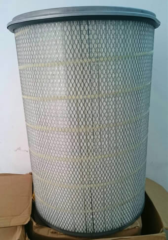 A cylinder shape air filter element with pleated HEPA inside and expanded metal outside.