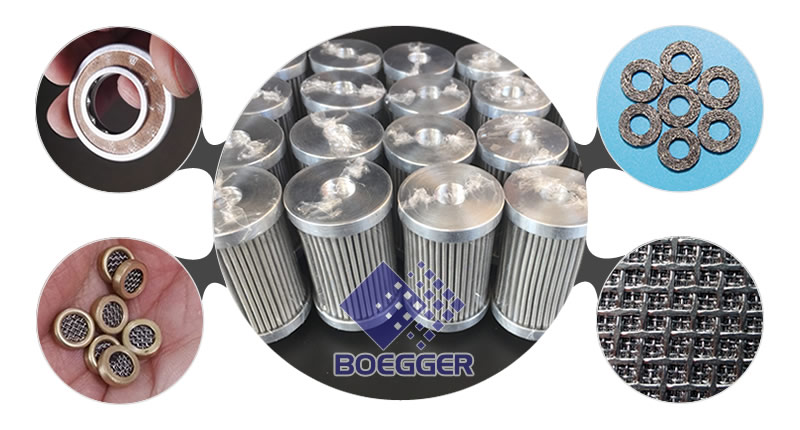 Pleated cylinder filters are around by filter disc, compressed filter, filter disc with brass edge and sintered filter.