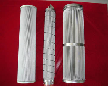 Three pleated cylinder filters with metal edge or flange are made of stainless steel.
