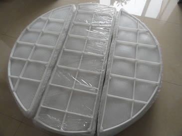 A PP demister pad with PP grid is divided into 3 sections.