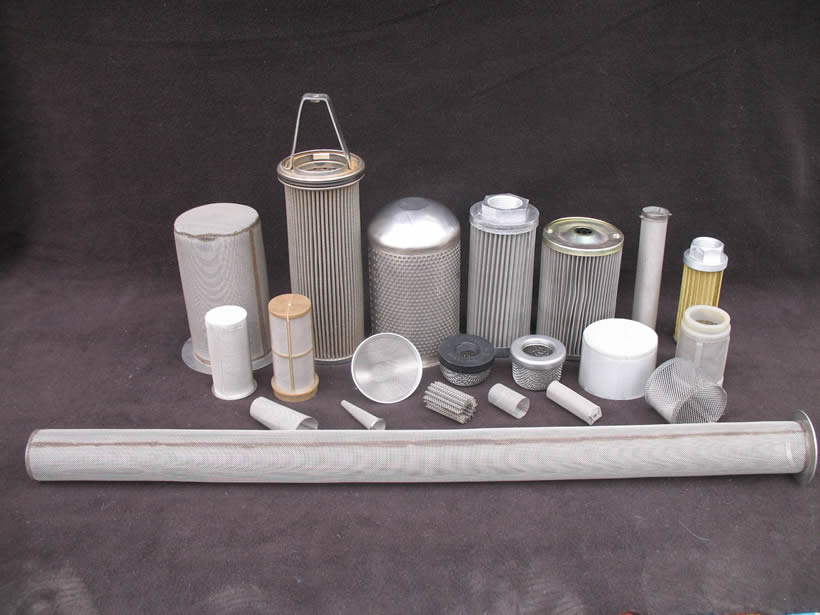 Different types of cylinder filters are placed together.