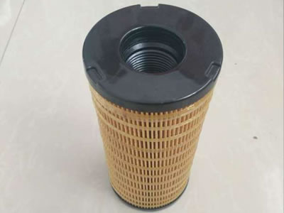An orange color gas and diesel filter with flat rubber end.