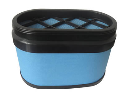 An oval shape blue air filter with rubber seal edge.